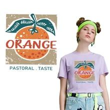 Orange Patches Iron on Transfer Fishion Cartoon Fruit Heat Transfer Vinyl Sticker Applique on Clothes Thermal Press Washable DIY