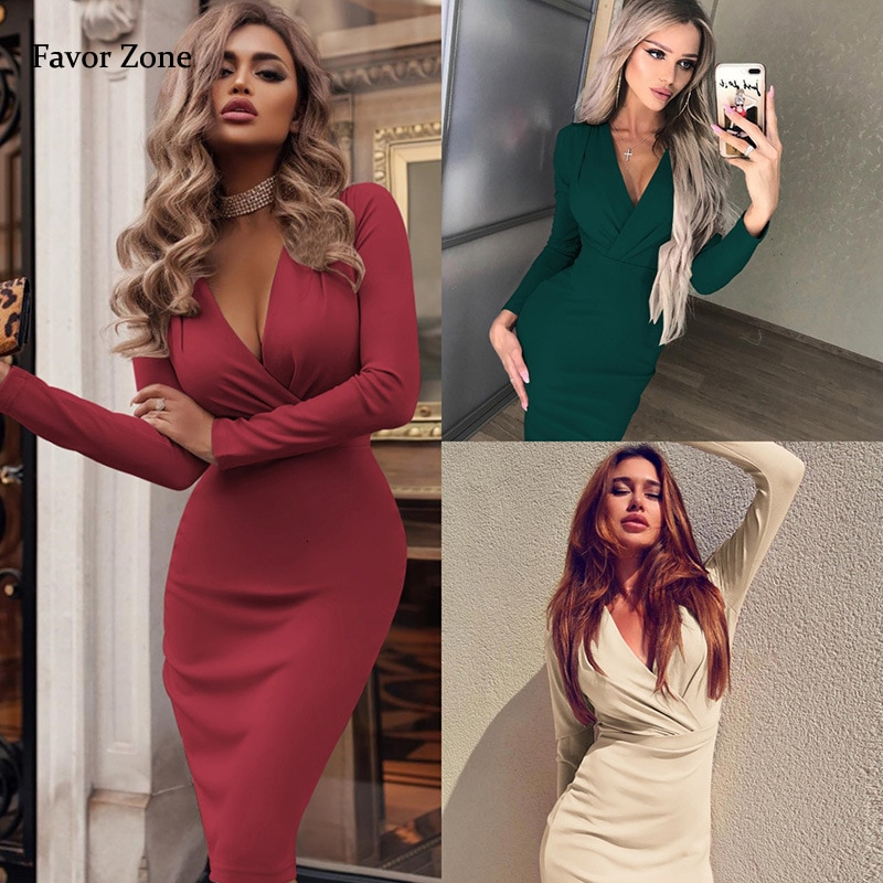 Vestido de mujer Otoño Invierno Casual de Color sólido de manga larga elegante vestido de oficina para mujer Sexy Deep V cuello ajustado lápiz vestidos de fiesta