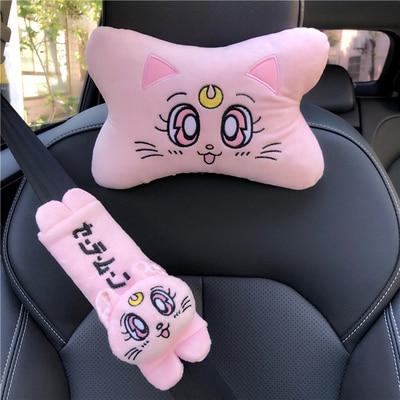 Плюшевые автомобильные подушки с котенком, подголовник для автомобиля, подушка для автомобильного кресла-подголовника, аксессуары для сал...