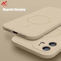 Жидкий силиконовый Магнитный чехол для iPhone 12 Pro Max 11Pro X Xs Xr 7 8 Plus 12 Mini, беспроводное зарядное устройство, Магнитная задняя крышка Magsafing