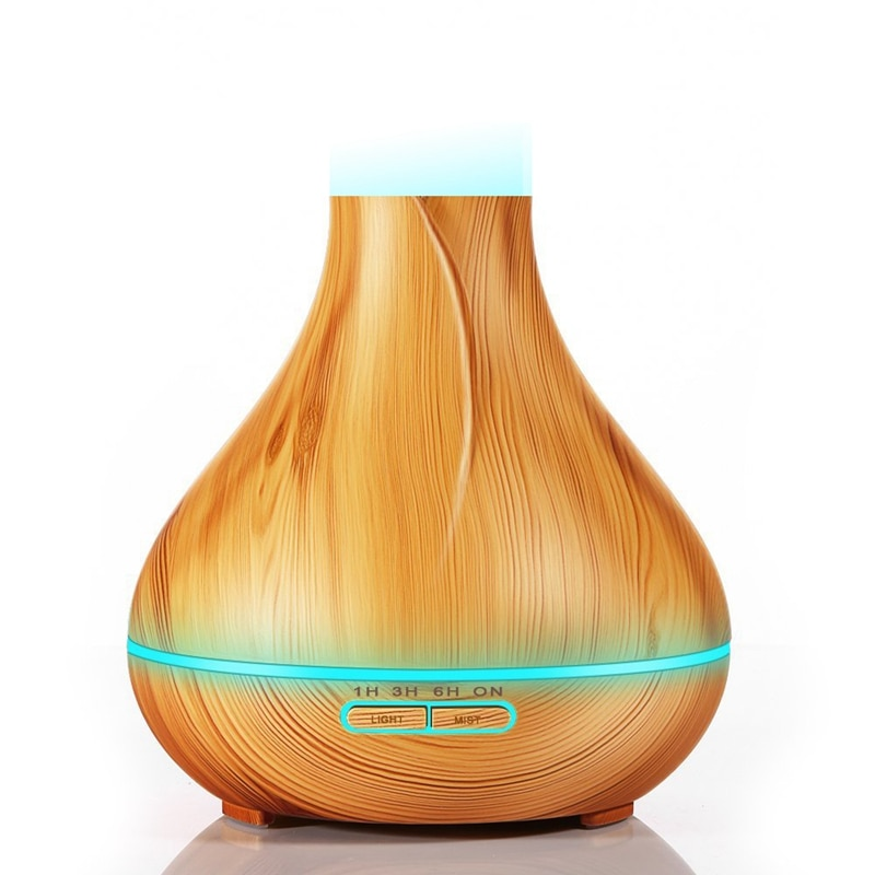Difusor de aceites esenciales de 300 Ml, humidificador de aire ultrasónico con Control remoto con difusor de aromaterapia de grano de madera, lámpara Led para