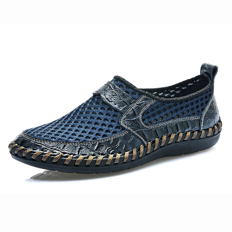 Summer Breathable Mesh Shoes Italy Loafers Mens Casual Genuine Leather Slip On Man Soft Comfortable black loafers