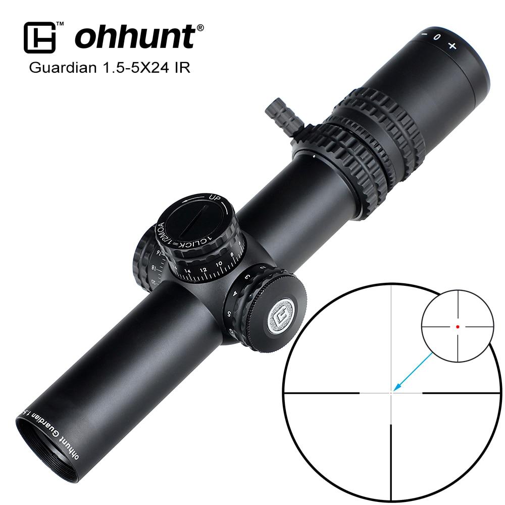 Ohhunt Guardian 1.5-5X24 Ir Compact Hunting Riflescope Center Dot Verlichte Glas Geëtst Richtkruis 30Mm Buis Tactical Optics