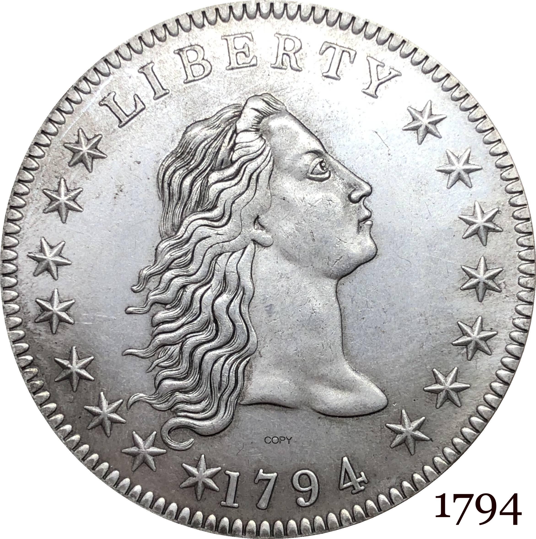 Estados Unidos de moneda americana 1794 Liberty Flowing Hair One Dollar Cupronickel Chapado en plata copia monedas
