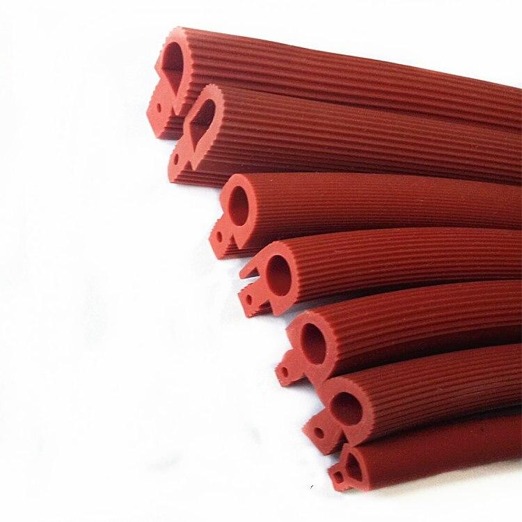 Силиконовая лента 5 м, красная уплотнительная лента в форме грибной головки, высокотемпературная Т-образная силиконовая лента для герметиз...
