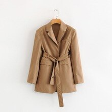 Women Trench Women's English Style Suit Collar Waist Loose Coat Long Coat Women
