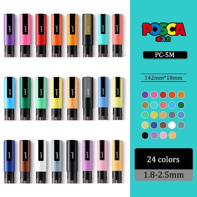 21/24 Color UNI Mitsubishi PC-1M/3M/5M POSCA POP Poster Water-based Advertising Pen Marker 0.7-2.5MM Painting Graffiti