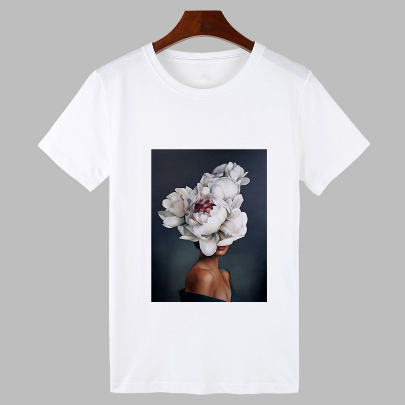 Фото - New Vintage tshirt femme Sexy Flowers Feather Print Harajuku T shirt Women Oneck Cartoon Print Casual Tops Female Clothing sexy flowers feather print t shirt women fashion tshirt o neck short sleeve harajuku t shirt white tops female tops