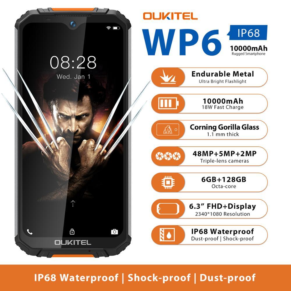 OUKITEL WP6 Ip68 Rugged Waterproof Smartphone MT6771T Octa Core 9V/2A 10000mAh Battery 48MP Triple Camera 6GB 128GB Mobile Phone