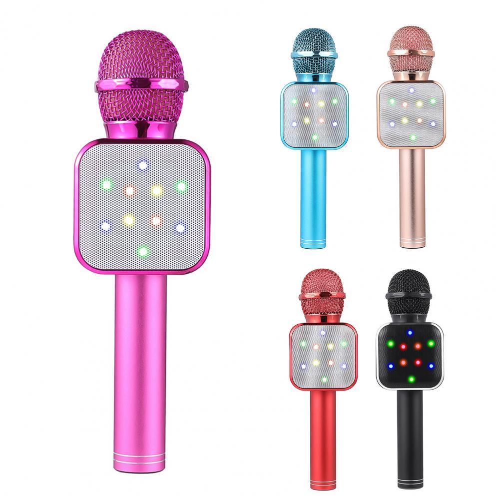 Micrófono inalámbrico Bluetooth con luces LED, accesorio de mano para Karaoke, Audio ABS, para KTV, profesional