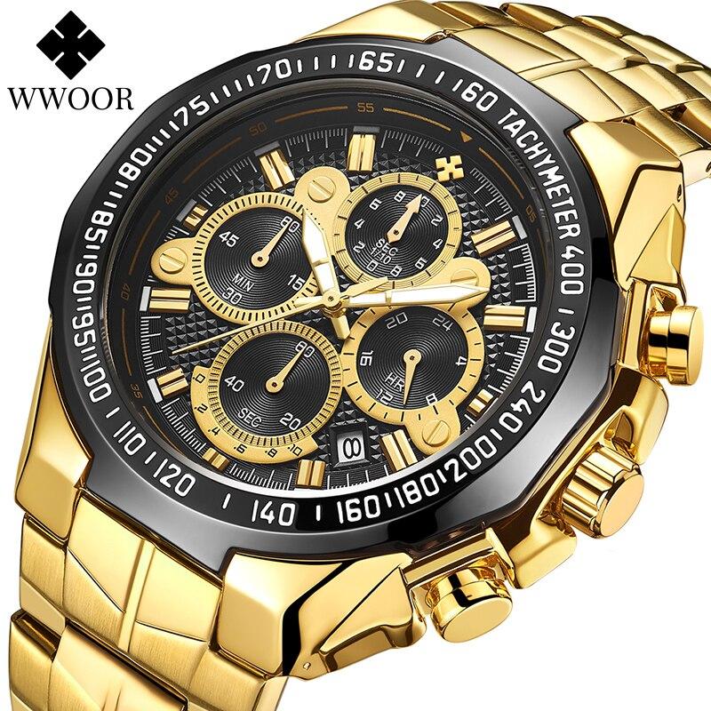 WWOOR повседневные спортивные часы, мужские золотые черные большие часы, Роскошные водонепроницаемые военные наручные часы, мужские Модные х...