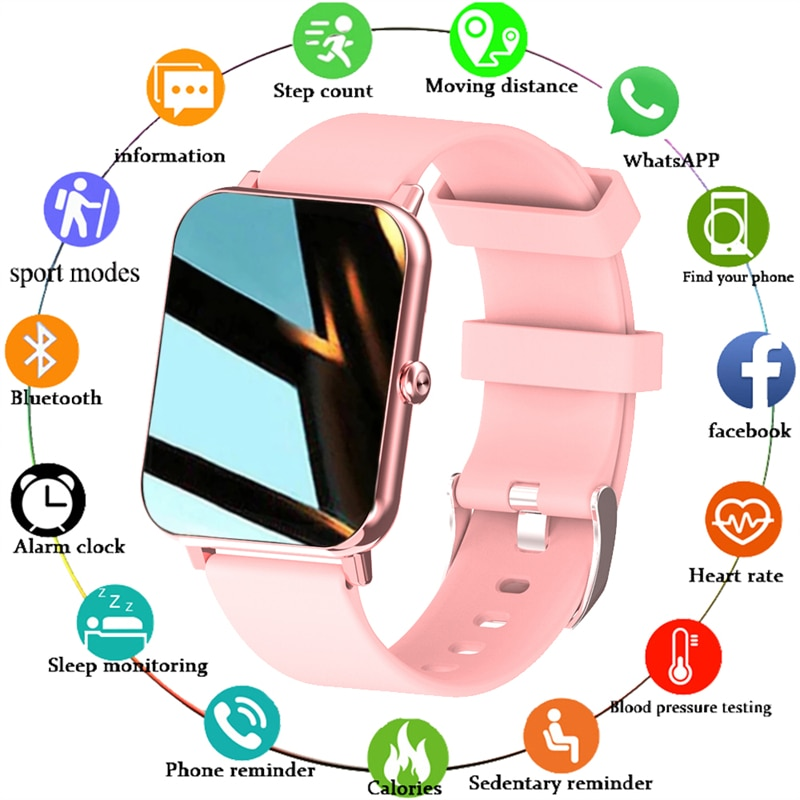 LIGE New 1.69 Inch Full Touch Smart Watch Women Real-time Heart Rate Body Temperature Monitor IP67 W