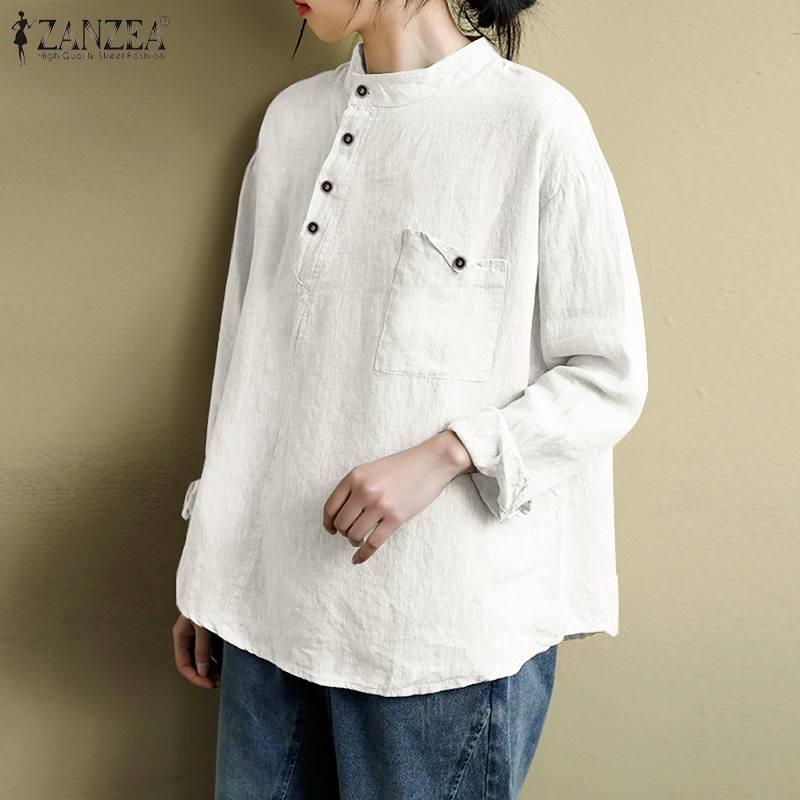 Zanzea casual botão para baixo blusa 2020 autmn sólido algodão camisas de linho das mulheres do vintage manga longa túnica topos femininos blusas chemise