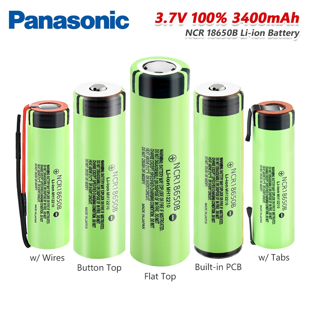 Panasonic High Drain 20A NCR 18650B батарея 3400mAh перезаряжаемые батареи с вкладками/линиями Кнопка сверху/плоский внешний аккумулятор фонарик