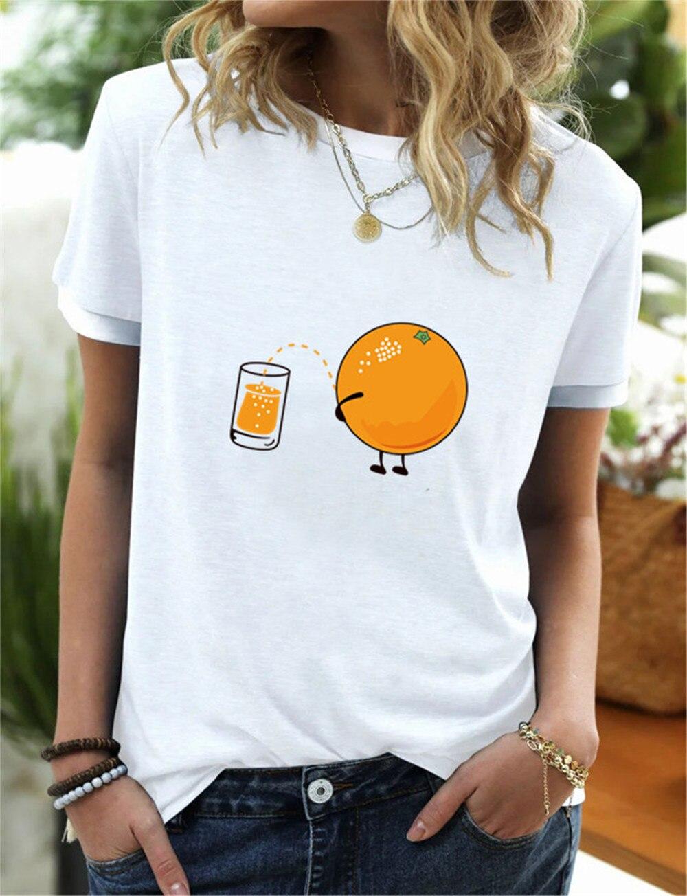 Camiseta con estampado de zumo de naranja para Mujer, blusa holgada de...