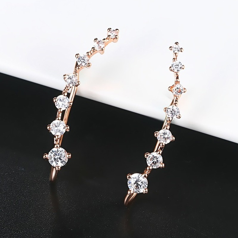 4 Styles élégant étoile oreille crochet pince boucles doreilles pour les femmes bijoux de mode en alliage de métal cubique zircone percé fête anniversaire