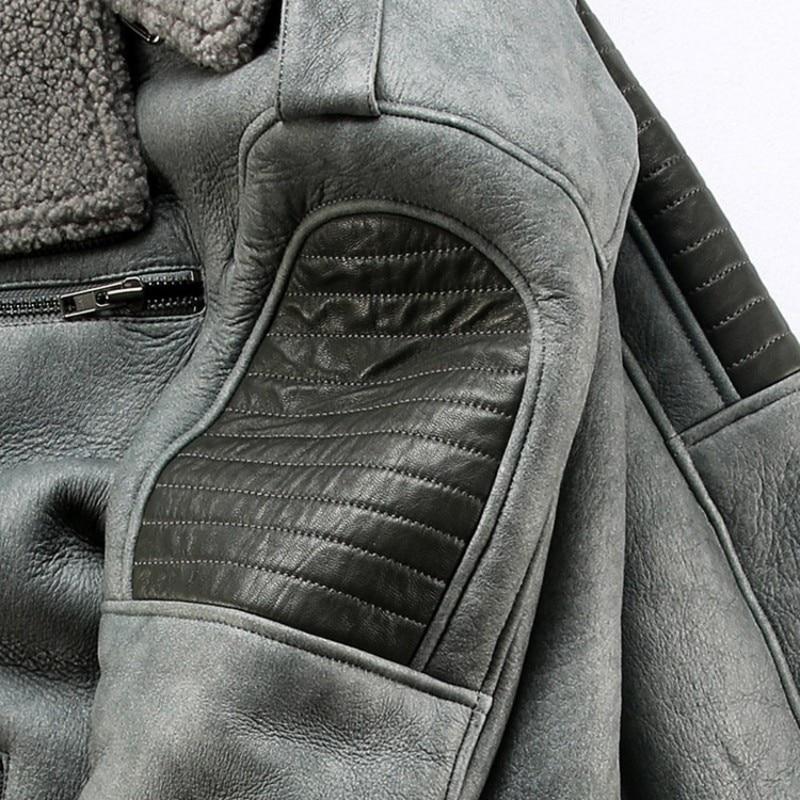 Thick Winter Mens Warm Sheepskin Genuine Leather Jacket Windbreaker Real Wool Lining Biker Coat Slim Natural Shearling Overcoat