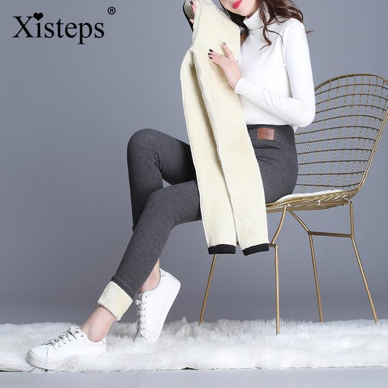 Эластичные женские плотные бархатные брюки-карандаш Xisteps с высокой талией, женские облегающие теплые брюки 2021, Зимние флисовые брюки, легги...