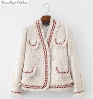 women high quality designer white tassels tweed coat 2021 fallwinter ol elegant v neck tweed jackets a769
