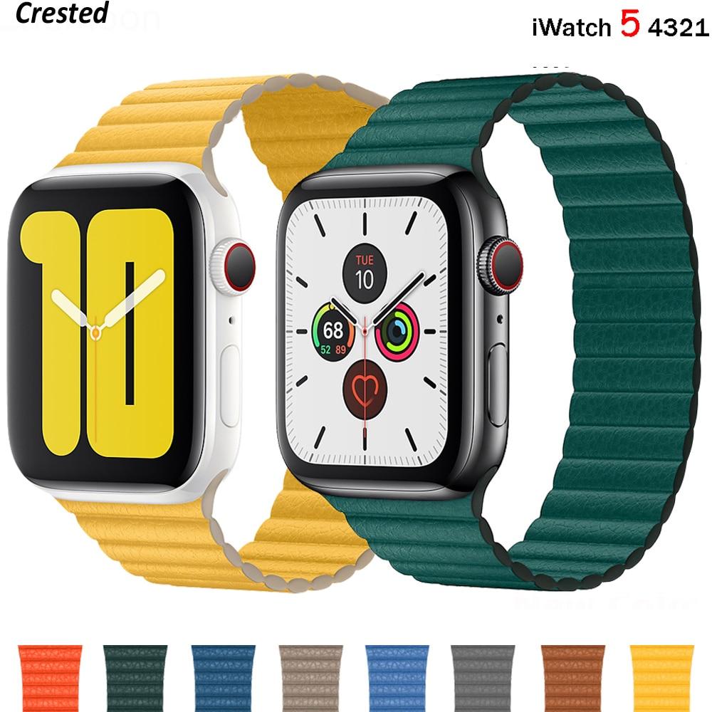 Bracelet boucle en cuir pour montre Apple série 6 SE 5 4 3 bracelet ceinture magnétique iWatch 42mm 38mm pour bracelet montre Apple 40mm 44mm