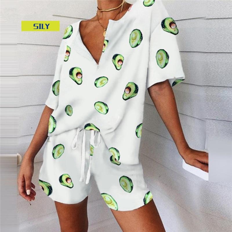 Women's Print Pajama Set Summer 2 Piece Set Women's Tracksuit T-Shirt Suits Female Casual Suits 2021 V-neck Top