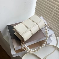 pearl beading solid color mini pu leather crossbody bags for women 2021 summer shoulder clutch ladies handbags and purses