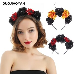 DUOJIAOYAN Women girls halloween headband with spider Color Artificial flower Hair accessories festival party costume hair hoop