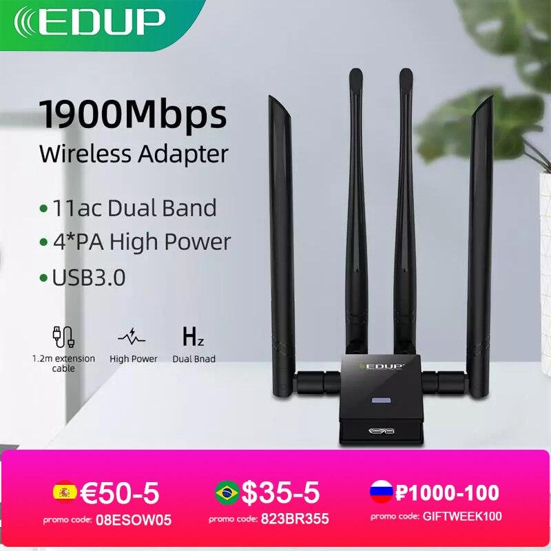 EDUP 1900Mbps USB واي فاي محول النطاق المزدوج 2.4G/5Ghz 4 * 6dBi هوائيات تحويل سطح المكتب اللاسلكية WIFI USB 3.0 شبكة بطاقة استقبال