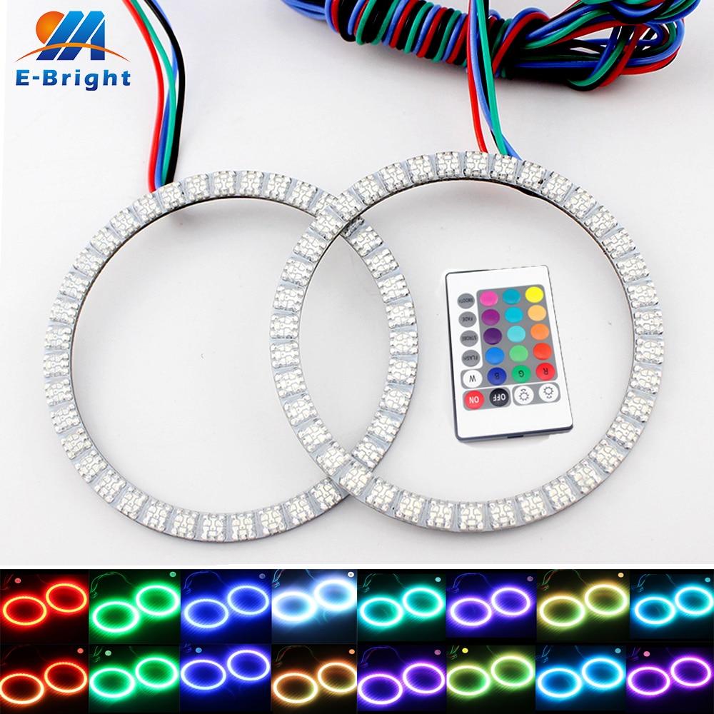 2X RGB 12V DC 100mm Ojos de Ángel linterna anillos controlador remoto 5050 51 SMD coche LED Halo acento Kit de luz cambiante