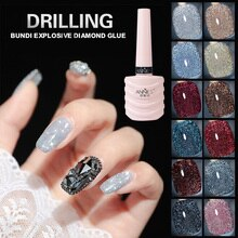 10ml Glitter Nail Gel Polish Nail Art Decoration Crystal Diamond Powder Gel Silver Nail Polish Soak
