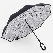 Women's Rain Umbrella C Handle  Windproof Reverse Folding Double Layer Inverted Car Umbrella Self Stand Upside Down