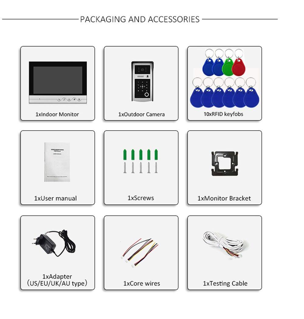 9 inch WIFI Video Intercom for Home Monitor entry system with Password/RFIC Fingerprint Unlock Doorbell Camera enlarge