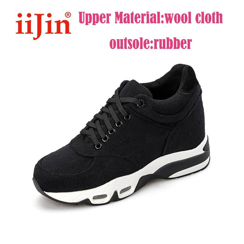 IIJIN-حذاء رياضي من الصوف الأسود ، نمط غير رسمي ، أزياء متناسقة مع كل شيء ، منصة ، للنساء ، الخريف والشتاء