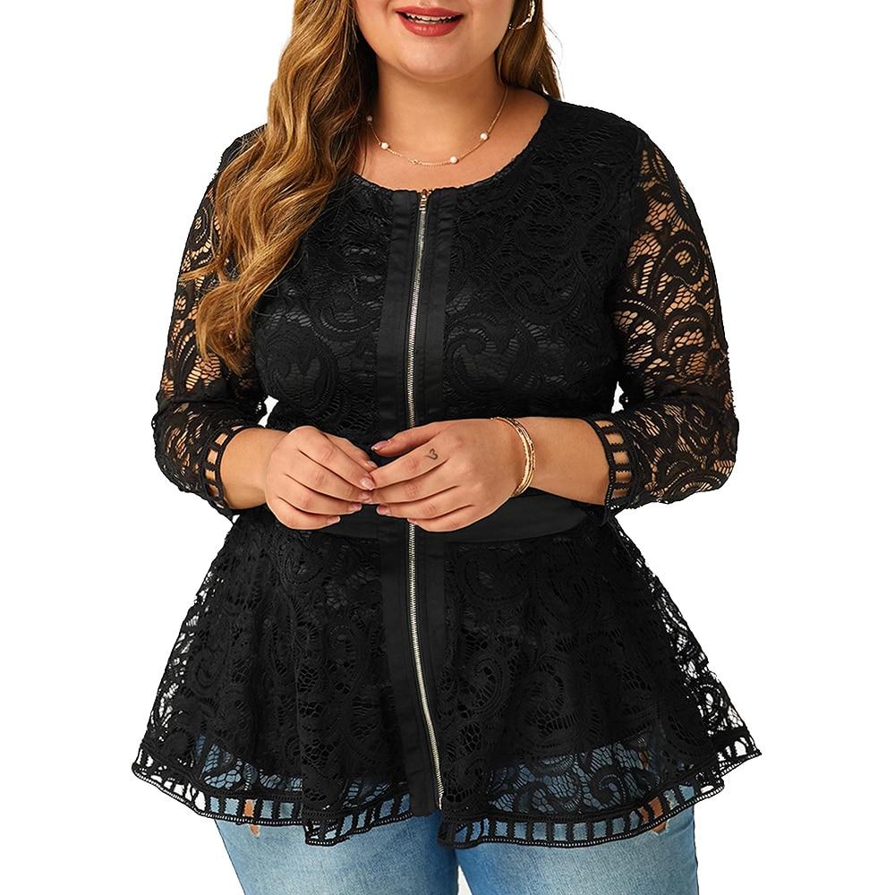 6XL Plus Size Lace Patchwork Blouse Women Spring Loong Sleeve Shirts Hollow Out Laides Tops Elegant Slim Blouses Blusas D30