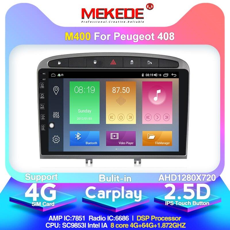 Reproductor de DVD para coche Android 10,0 4 + 64G, navegación GPS para Peugeot 408 para Peugeot 308 308SW Audio Radio estéreo, Unidad Principal 2.5D IPS