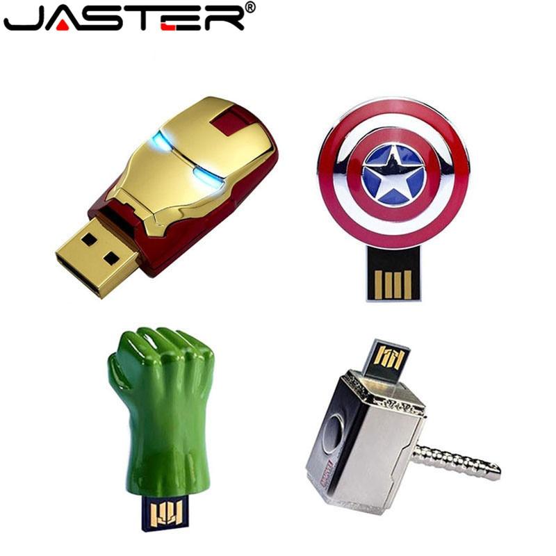 JASTER de metal de hierro hombre capitán americano escudo martillo usb memoria usb hulk pendrive 4GB 8GB 16GB 32GB 64GB