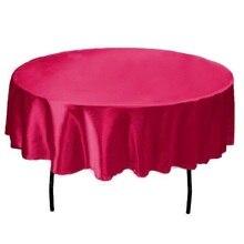 145cm x 145cm Hotel Tischdecke Solide Runde Satin Tisch Tuch Für Weihnachten Hochzeit Party Hotel Restaurant Bankett Decor 21 farben