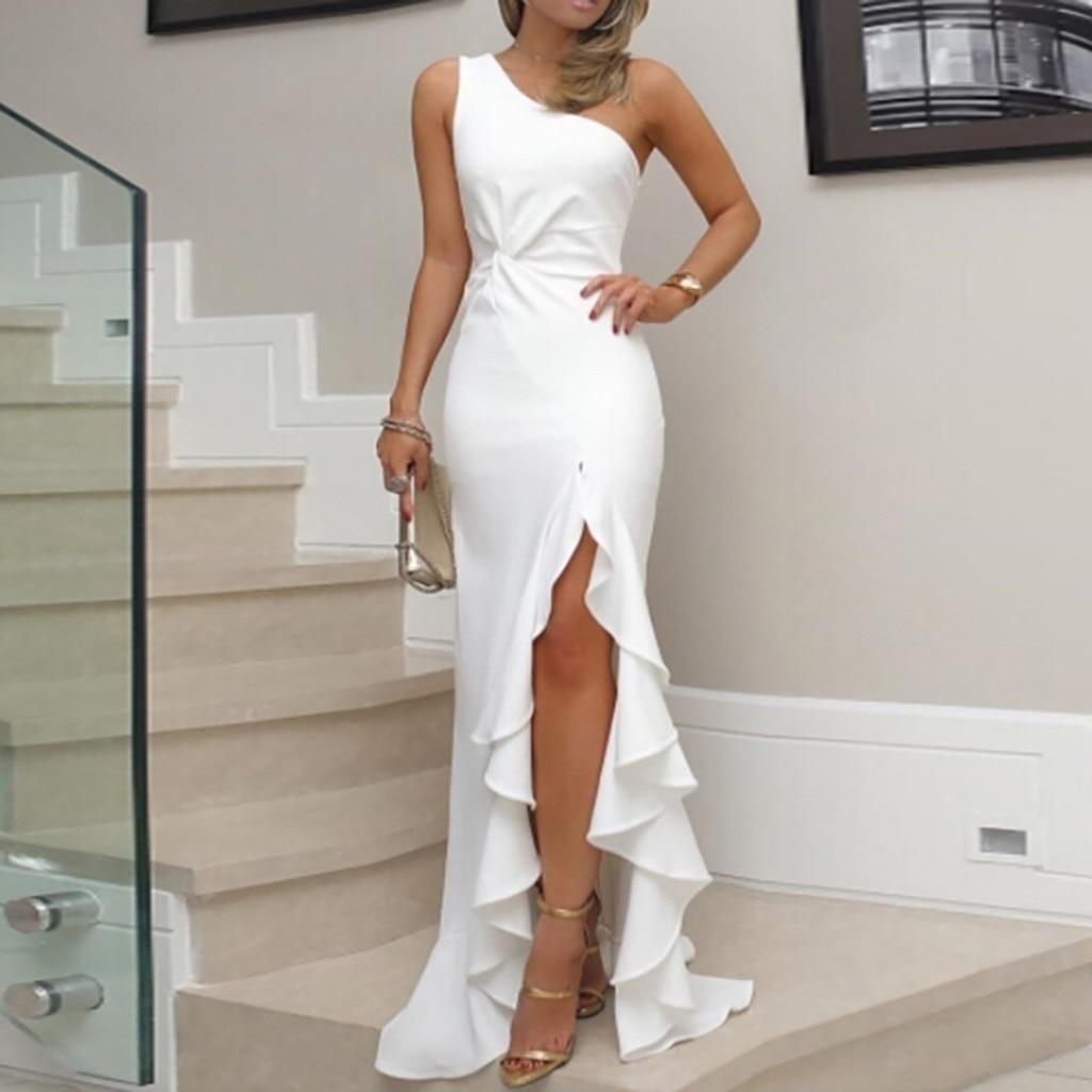 JAYCOSIN 2019 nuevo vestido de verano para mujeres un hombro volante fruncido Formal vestido de fiesta de noche ajustado Maxi vestidos largos Z827