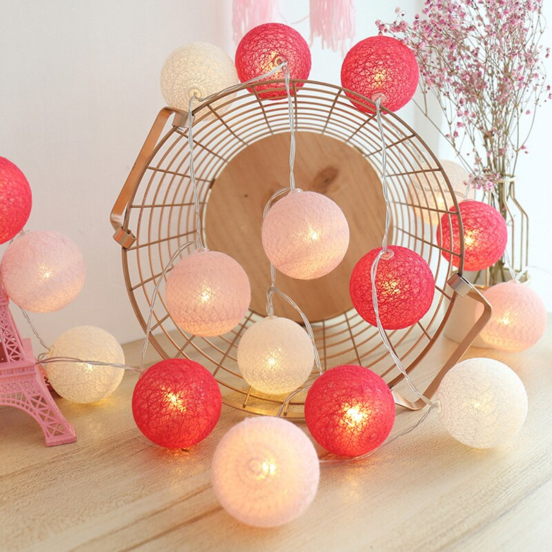 Guirnalda led de bola de algodón, decoración de boda y Navidad, 20...