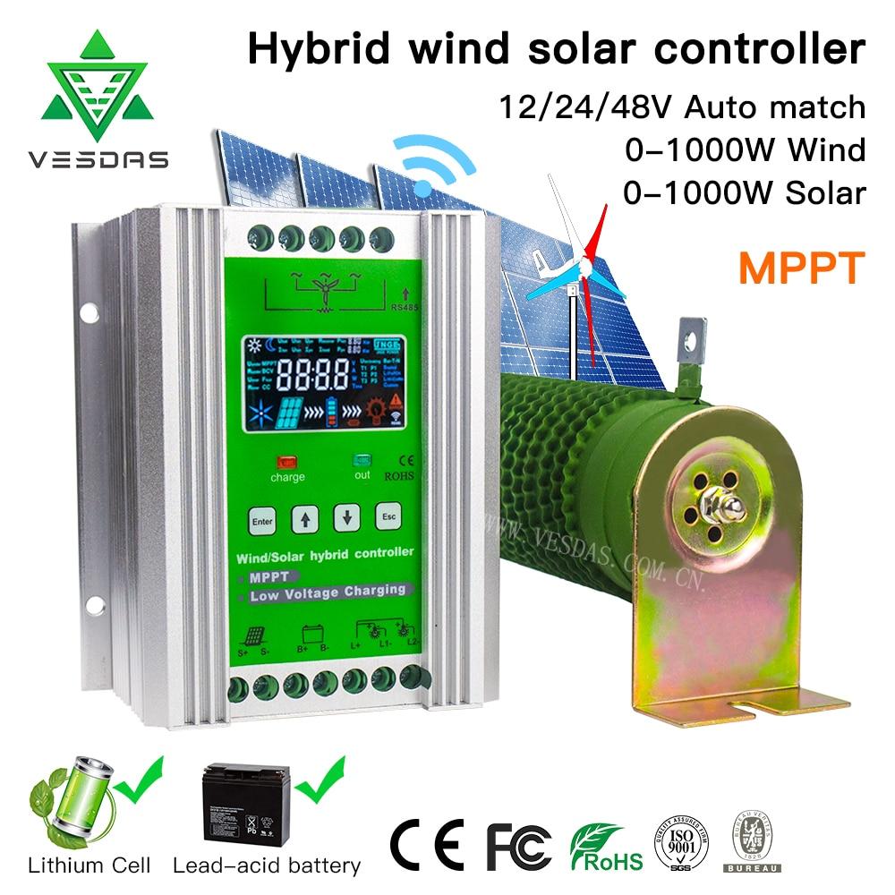 600-3000W Hybrid Solar Wind Charge Controller Power System MPPT Solar Regulator For 12V 24V 48V Lithium Lead-acid Battery