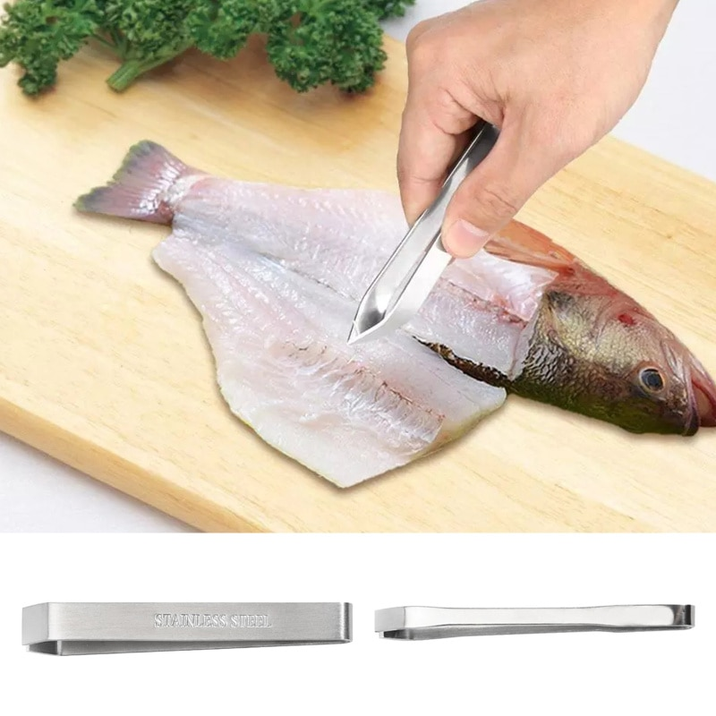 1 Pcs Stainless Steel Fish Bone Tweezers Remover Pincer Puller Tongs Pick-Up Seafood Tool Kitchen Tw