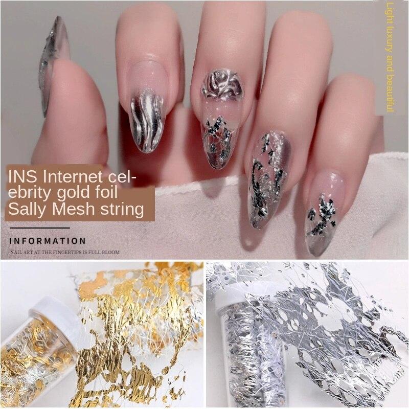 Gold Silver Nail Art Foil Paper Irregular Aluminum Nail Sticker Manicure Glitter Gel Polish DIY Design Nail Decoration