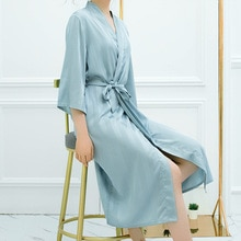 Новый сексуальный Ночной светильник, синий халат, атласный шелковый халат для женщин, полосатый халат, женский летний банный халат, одежда д...