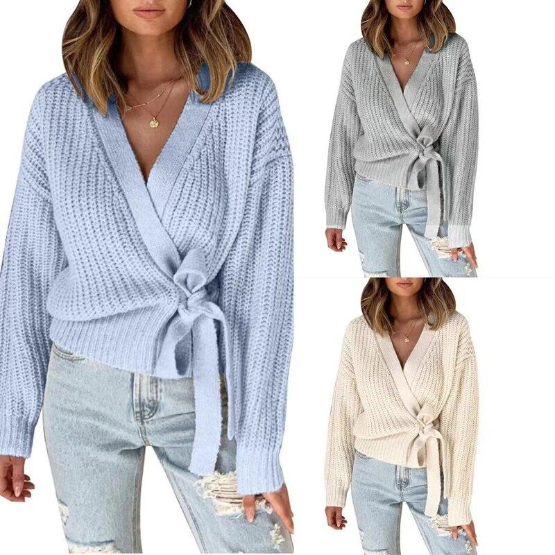 Zoki Cardigans Sweater Women Fashion Bandage Tunic Female Knit Jacket Casual Spring Long Sleeve V Neck Solid Streetwear Jumper