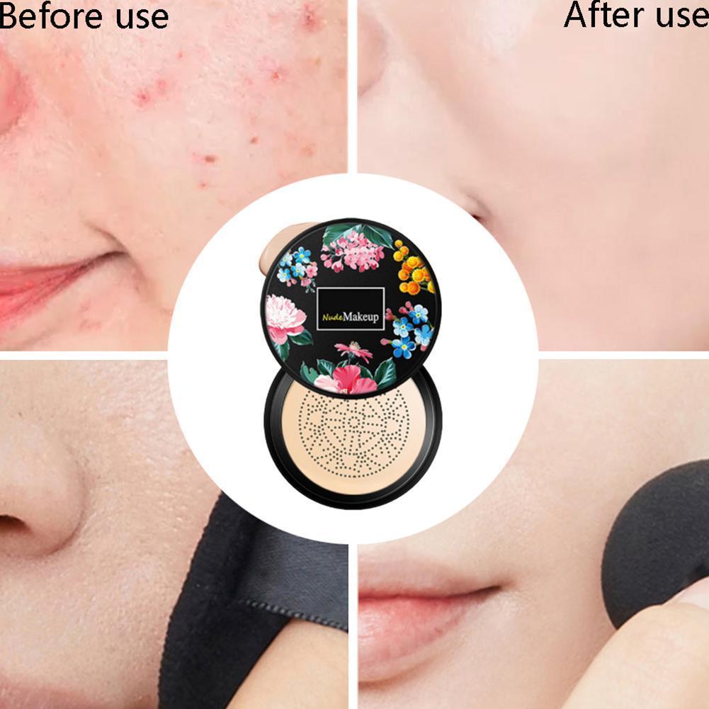 BB Cream champiñón cabeza esponja de crema CC base maquillaje Natural Nude corrector cepillos luz transpirable F0P1