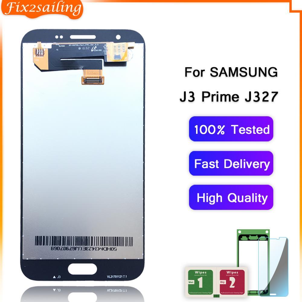 FIX2SAILING 100% pantalla LCD AMOLED DE TRABAJO montaje de pantalla táctil para Samsung Galaxy J3 Emerge 2017 2ª generación J3 Prime J327