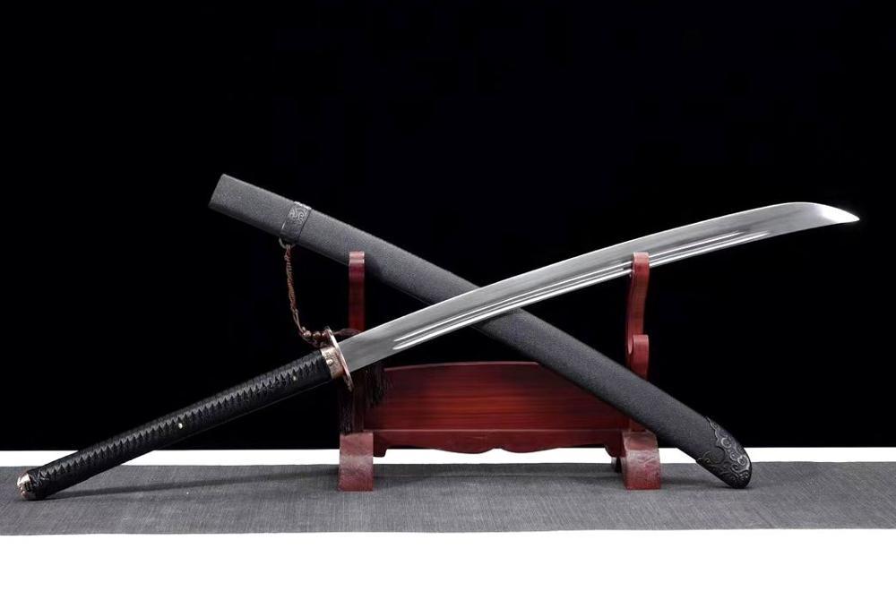 Espada de temperamento, espada con ranura de falchion gaive, hoja de acero al manganeso, cuchillo de sable de borde