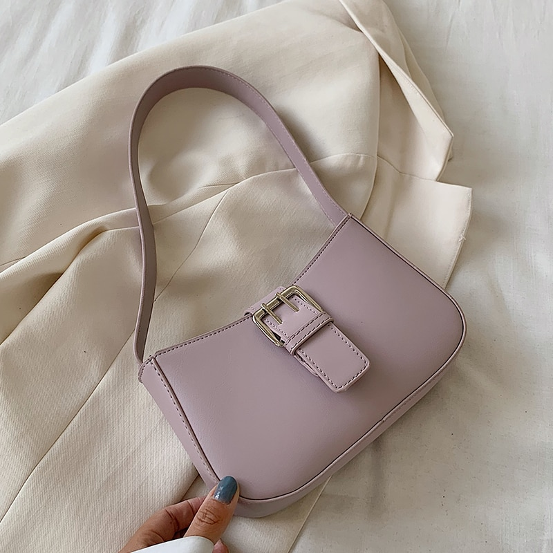 Purple Stone Pattern PU Leather Armpit Bag For Women 2020 Luxury Small Shoulder Handbags Female Fashion Summer Tote Bag