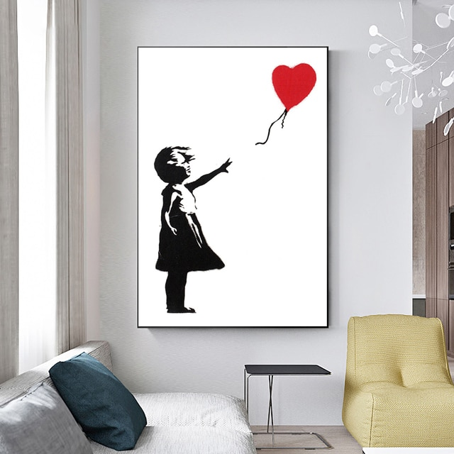 Banksy Graffiti Artwork Canvas Painting Girl With Red Balloon Poster Black White Abstract Wall Pictures for Nordic Home Decor 4