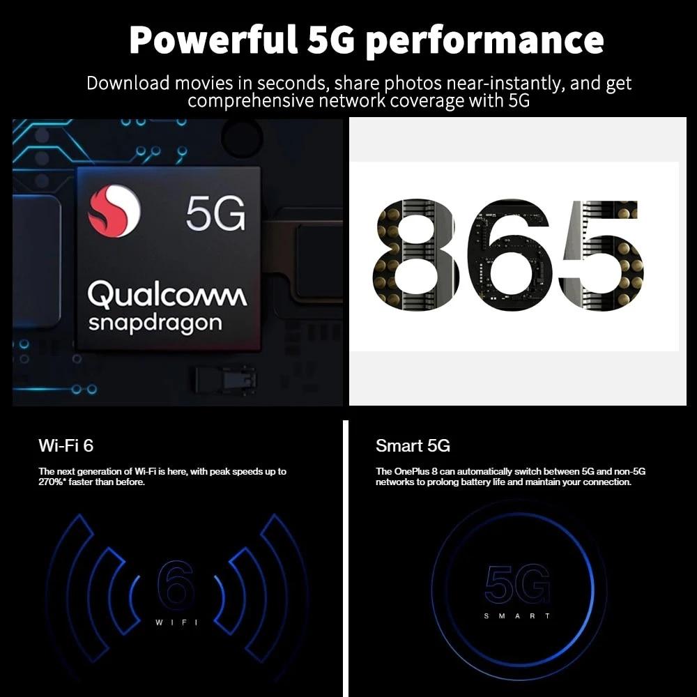 Фото1 - OnePlus 8 5G смартфоны с Snapdragon 865 8ГБ 12ГБ ОЗУ 6,55 дюймовым AMOLED экраном и 90 Гц Сверхвысокой частотой обновления телефоны с 48Мп Тройной камерой и бата...